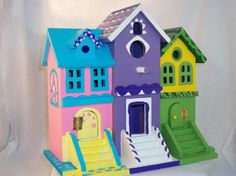 Hand-painted, one-of-a-kind treasure, this decorative birdhouse is sure to brighten any space. Artistically designed by Margie herself, this 9 Decorative Bird Houses, Bird Houses Painted, Bird Houses Diy, Fairy Garden Houses, Wood Houses, Birdhouse Designs, Birdhouse Ideas, House Painting, Diy Painting
