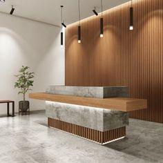 Office Reception Design, Modern Reception Desk, Hotel Reception Desk, Spa Reception Area, Lobby Reception, Office Interior Design, Office Interiors, Indoor Bar, Desk With Drawers
