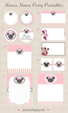 Free Minnie Mouse Party Printables Includes: - cupcake toppers - invitation templates - labels - thank you tags - gift tags - dessert buffet frames