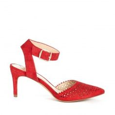 Sole Society Emma - suede laser-cut ankle strap mid heel