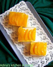 Adina's kitchen & travel: Foi pandispan cu crema de piersici si gris Gordon Ramsay, Cantaloupe, Mango, Sweets, Cheese, Food, Manga, Gummi Candy, Candy