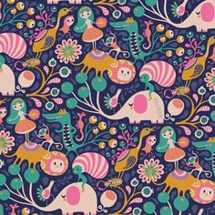This fun a colorful animal pattern is super cute with elephants and other wild life.
