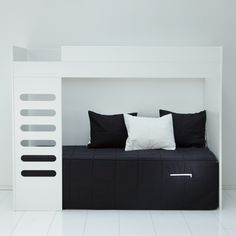 AVA loft bed is a great solution for small spaces: place your desk under the bed, or another bed to create a sofa. Junior Loft Beds, Kidsroom, Girl Room, Kids Bedroom, Room Inspiration, Small Spaces, Mattress, Home And Family, New Homes