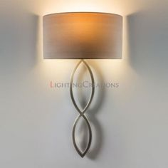 Caserta Matt nickel Wall Light With Oyster Fabric Shade