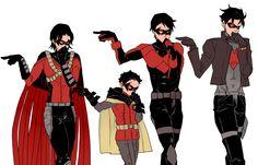 sassy poses with yer robins Batgirl, Nightwing, Batwoman, Tim Drake, Timothy Drake, Damian Wayne, Jason Todd, Red Hood, Robins