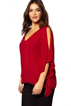 Womens V-neck Cold Shoulder Chiffon Blouse Red