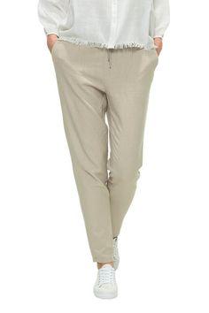 Damen Leinen-Hose von Only Schmales Bein Dehnbarer Bund mit Kordelzug Zwei Taschen vorne Größe fällt normal aus Material und Verarbeit