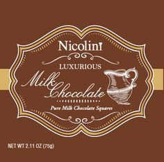 Nicolini Chocolates packaging- Milk Chocolate #chocolate #design #packaging #label #milkchocolate #create #agency Chocolate Squares, Chocolate Chocolate, Chocolate Packaging, Design Packaging, Chocolates, Chalkboard Quotes, Art Quotes, Label, Milk