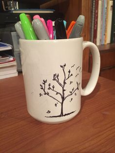 A blank mug that I drew this on with sharpies.....Ps. Thanks Katherine ;):)