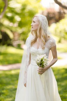 Love the veil combined with lace cap sleeves   Whimsical Wedding at Butterfly Lane Estate