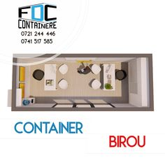 Birou dintr-un singur container, cu vitrina de 3m lungime, spatiu de birou eficient, reprezentanta mobila, birou mobil. Imagine de plan.   Disponibil si pe www.containere-fdc.ro  #modular #modularbuilding #modularconstruction #smartbuilding #officespace #officedesign #officedesigntrends #3dmodeling #containeroffice #containeroffices #containerbuilding #modularcontainer #modularoffice #modulardesign #modulararchitecture