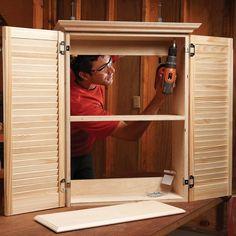 Make a Super-Simple Bath Cabinet — The Family Handyman Wardrobe Cabinets, Buy Closet, Cabinet, Bath Cabinets, Bifold Closet Doors, Diy House Projects, Bathroom Storage Cabinet, Closet Remodel, Bathroom