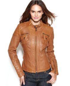 MICHAEL Michael Kors Coat, Leather Buckle-Collar Motorcycle Jacket from Macys #poachit