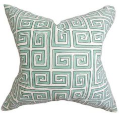 "The Pillow Collection Klemens Geometric Cotton Throw Pillow Color: Pool, Size: 20"" x 20"""
