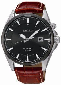 Seiko Kinetic Black Dial Tan Leather Mens Watch SKA569 Seiko. $151.01. Crystal Material:	Hardlex crystal. Functions:	Hours, Minutes, Seconds, 6 mo. Power Reserve, Date. Calendar:	Date at 3 o'clock position. Movement:	Automatic, Caliber 5M62. Hands:	Silver tone lumibrite hands and hour markers