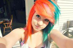 orange & teal #dyed #hair #pretty