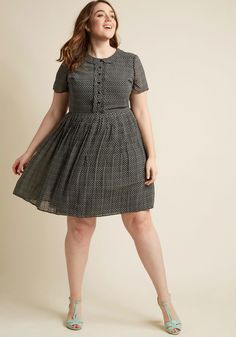 Short-Sleeved Pleated Shirt Dress | ModCloth