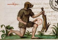 Dog-headed man hunting Ste-Geneviève, MS 3401, 16th c.l, via The Medieval Art Weekly