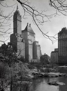 Then: Sherry Netherland Hotel and Plaza Hotel from Central Park (1928)