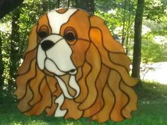 Stained Glass Cavalier King Charles Spaniel by bethsheartofglass