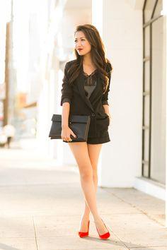 Lingerie Style :: Leather lace & Velvet pumps