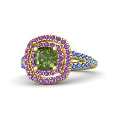 Cushion Green Tourmaline 14K Yellow Gold Ring with Amethyst & Sapphire | Lillian Ring (6mm gem) | Gemvara