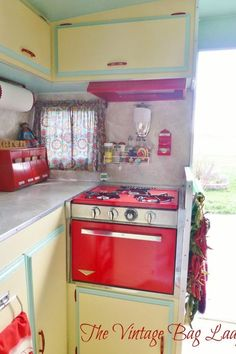 Vintage trailer interior - yellow, red and turquoise please