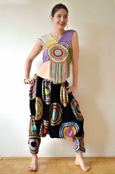 I pinned this because of the top - inspirational construction.  Funky Crochet Harem Pants and Top by subrosa123 on Etsy