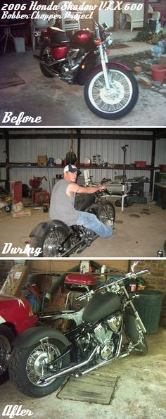 2006 Bobber Chopper Rat Rod Bike! This is a 2006 Honda Shadow VLX 600 cc. I bought this thing brand new and cut if in half with a sawsall when it had only 395 miles on it to create the custom chopper you see in the photo. In the after picture, the only thing left to do was to get my seat pan finished. This bike is a freaking head turner! Everyone loves it and everyone wants to buy it. Outside of the cost of the bike, all of the mods and welding cost less than $1,200.00!