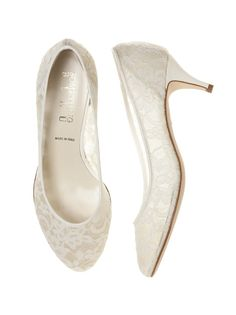 White Lace Mid Heel Shoes | White Wedding Shoes