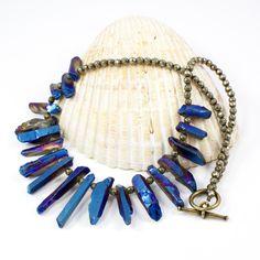 Titanium Electroplated Blue #Quartz #Crystal Pyrite Artisan #Necklace $72 #solanakaidesigns @solanakai