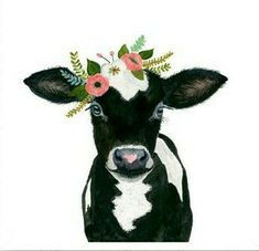 Art print - B&W cow with flower crown