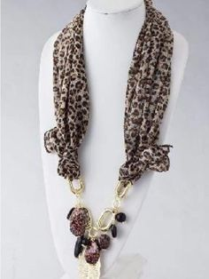 Silky Animal Prints Scarf with Leaf Charms & Stones Scarf Necklace, Fabric Necklace, Scarf Jewelry, Textile Jewelry, Fabric Jewelry, Wire Jewelry, Jewelry Crafts, Beaded Jewelry, Jewelery