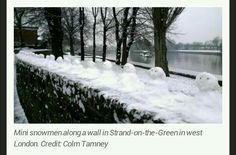 My photo of the mini snowmen by the river in Chiswick was used on the ITV homepage.