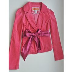 Pink Blazer Cute pink blazer with Ribbon Belt.                          Material: 35% Cotton, 60% Rayon, 5% Spandex Jackets & Coats Blazers