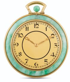 a yellow gold and ja Modern Watches, Vintage Watches, Ancient Jewelry, Auction, Jewels, Yellow, Manual, Stuff To Buy, Jade