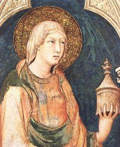 ❤ - SIMONE MARTINI (1285 - 1344) - Saint Mary Magdalene and Saint Catherine of Alexandria, detail -1317. Fresco, 215 x 185 cm. Cappella di San Martino, Lower Church, San Francesco, Assisi.
