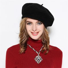 Womens French Artist 100% Wool Beret Flat Cap Winter Warm Painter Hat Y63