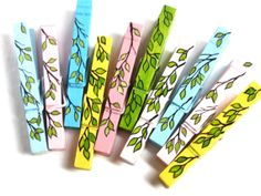 SPRING CLOTHESPINS hand painted magnetic pegs by SugarAndPaint, $31.00
