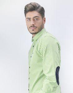 1e9f2a7bff Camisa hombre estampado cuadro vichy color verde lima