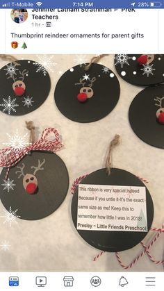 Fun Easy Christmas Crafts For Kindergarten Thumbprint Reindeer Ornaments Kindergarten Christmas Crafts, Easy Christmas Crafts, Classroom Crafts, Christmas Activities, Simple Christmas, Christmas Projects, Christmas Holidays, Christmas Gifts, Kindergarten Fun