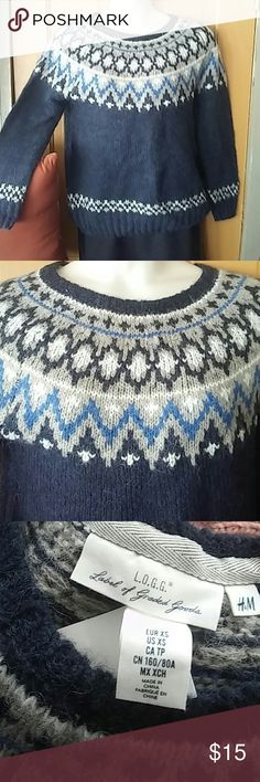 NEW! Icelandic fishing sweater XS Beautiful NWT MIXED MEDIA..acrylic,, alpaca, wool, polyamide Ready to go for your winter outdoor fun! H&M Sweaters Crew & Scoop Necks