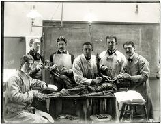 Dissection at the Yale School of Medicine around 1910. Such photos were popular in the 1910s and '20s.