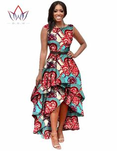 Long Dessses Women Fashion Dress Maxi Brand African Bazin Dresses for Women Dashiki Ankara Dresses Custom Cascading RuffleWY447