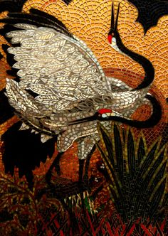 Red crowned cranes - Glass mosaic art from http://www.showcasemosaics.com/nature-and-landscape.html
