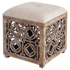 The ornate openwork base of this classic ottoman draws the eye, while the tufted top offers a relaxing spot for your feet.  Product:...