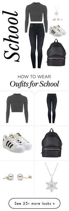 """School"" by emma-charlotte-1 on Polyvore featuring Mother, Topshop, adidas Originals and Yves Saint Laurent"
