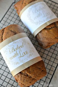"""Free bread wrappers """"Baked With Love"""""""