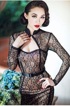le palais vintage retro pin up black lace cut out pencil dress — GOOD GIRL REBEL Look Fashion, Retro Fashion, Vintage Fashion, Fashion 2018, Dress Fashion, Vintage Outfits, Fashion Trends, Prom Dress Shopping, Online Dress Shopping