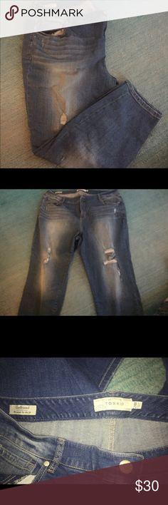 Torrid women's 24 jeans Torrid Girlfriend style distressed jeans. Size 24. Never worn torrid Jeans Boyfriend